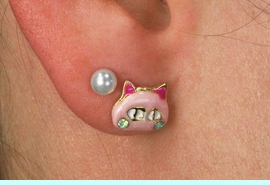 <Br>   LEAD NICKEL & CADMIUM FREE!!<Br> W18946E - 2 PAIR SET MINIATURE <BR>  GOLD TONE KITTY AND FAUX PEARL<Br>     EARRINGS FROM $3.35 TO $7.50