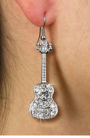 <Br>   LEAD, NICKEL & CADMIUM FREE!!!<BR> W19252E - POLISHED SILVER TONE <br>      AND AUSTRIAN CRYSTAL GUITAR <BR>      EARRINGS FROM $6.25