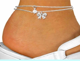 <Br>      LEAD, NICKEL & CADMIUM FREE!!!<BR>W19262AK - GENUINE AUSTRIAN CRYSTAL <br>LARGE STUD AND SILVER TONE CRYSTAL BOW<Br>DOUBLE-STRAND ANKLET FROM $2.25 TO $5.00