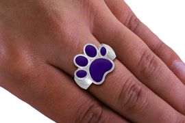 <Br>  LEAD, NICKEL & CADMIUM FREE!! <Br>W19840R - BEAUTIFUL SILVER TONE <BR> PURPLE PAW PRINT STRETCH RING <Br>        FROM $2.81 TO $6.25
