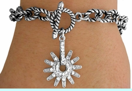 <Br>            LEAD & NICKEL FREE!!<Br>       AN ALLAN ROBIN DESIGN!!<br>             EXCLUSIVELY OURS!!<BR> W14688B - GENUINE AUSTRIAN<br>   CRYSTAL SPUR DROP TOGGLE<Br>  BRACELET FROM $6.19 TO $13.75