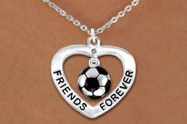 "<Br>           LEAD & NICKEL FREE!!<Br>      AN ALLAN ROBIN DESIGN!!<BR>W13073N - ""FRIENDS FOREVER""<Br>   HEART & SOCCER BALL DROP<Br>    NECKLACE AS LOW AS $4.70"