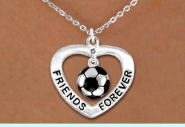 """<Br>           LEAD & NICKEL FREE!!<Br>      AN ALLAN ROBIN DESIGN!!<BR>W13073N - """"FRIENDS FOREVER""""<Br>   HEART & SOCCER BALL DROP<Br>    NECKLACE AS LOW AS $4.70"""