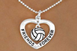 """<Br>           LEAD & NICKEL FREE!!<Br>      AN ALLAN ROBIN DESIGN!!<BR>W13075N - """"FRIENDS FOREVER""""<Br>    HEART & VOLLEYBALL DROP<Br>    NECKLACE AS LOW AS $4.70"""