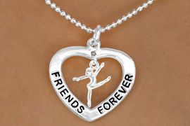 """<Br>                    LEAD & NICKEL FREE!!<Br>                AN ALLAN ROBIN DESIGN!!<BR>  W13076N - """"FRIENDS FOREVER"""" HEART <BR>  DRILL TEAM/ DANCER/GYMNAST DROP<Br>             NECKLACE AS LOW AS $4.70"""