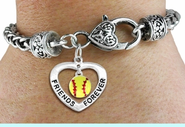 """<Br>           LEAD & NICKEL FREE!!<Br>      AN ALLAN ROBIN DESIGN!!<BR>W19911B - """"FRIENDS FOREVER"""" HEART  <Br>WITH SOFTBALL MINI-CHARM ON <BR>HEART LOBSTER CLASP BRACELET <Br>    FROM $6.19 TO $13.75 �2012"""