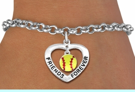 """<Br>           LEAD & NICKEL FREE!!<Br>      AN ALLAN ROBIN DESIGN!!<BR>W19912B - """"FRIENDS FOREVER""""HEART  <Br>WITH SOFTBALL CHARM BRACELET <Br>    FROM $5.29 TO $11.75 �2012"""
