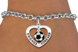 """<Br>           LEAD & NICKEL FREE!!<Br>      AN ALLAN ROBIN DESIGN!!<BR>W19913B - """"FRIENDS FOREVER""""HEART  <Br>WITH SOCER CHARM BRACELET <Br>    FROM $5.29 TO $11.75 �2012"""