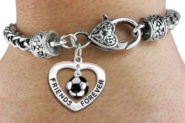 """<Br>           LEAD & NICKEL FREE!!<Br>      AN ALLAN ROBIN DESIGN!!<BR>W19914B - """"FRIENDS FOREVER"""" HEART  <Br>WITH SOCCER MINI-CHARM ON <BR>HEART LOBSTER CLASP BRACELET <Br>    FROM $6.19 TO $13.75 �2012"""