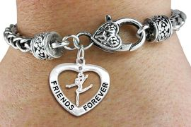"""<Br>           LEAD & NICKEL FREE!!<Br>      AN ALLAN ROBIN DESIGN!!<BR>W19915B - """"FRIENDS FOREVER"""" HEART  <Br>WITH GYMNAST MINI-CHARM ON <BR>HEART LOBSTER CLASP BRACELET <Br>    FROM $6.19 TO $13.75 �2012"""