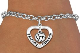 "<Br>           LEAD & NICKEL FREE!!<Br>      AN ALLAN ROBIN DESIGN!!<BR>W19919B - ""FRIENDS FOREVER""HEART  <Br>WITH VOLLEYBALL CHARM BRACELET <Br>    FROM $5.29 TO $11.75 �2012"