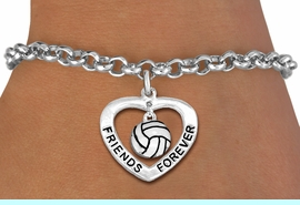 """<Br>           LEAD & NICKEL FREE!!<Br>      AN ALLAN ROBIN DESIGN!!<BR>W19919B - """"FRIENDS FOREVER""""HEART  <Br>WITH VOLLEYBALL CHARM BRACELET <Br>    FROM $5.29 TO $11.75 �2012"""