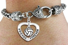 """<Br>     LEAD, CADMIUM, & NICKEL FREE!!<Br>         AN ALLAN ROBIN DESIGN!!<BR>W19920B - """"FRIENDS FOREVER"""" HEART  <Br>WITH VOLLEYBALL MINI-CHARM ON <BR>HEART LOBSTER CLASP BRACELET <Br>    FROM $6.19 TO $13.75 �2012"""
