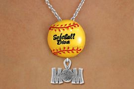 "<Br>        LEAD & NICKEL FREE!! <Br>         AN ALLAN ROBIN DESIGN!! <br>W19921N - ""SOFTBALL DIVA""  <BR>NECKLACE WITH SILVER TONE  <BR> ""SOFTBALL MOM"" CHARM  <BR>        FROM $6.19 TO $13.75 �2012"