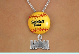 """<Br>        LEAD & NICKEL FREE!! <Br>         AN ALLAN ROBIN DESIGN!! <br>W19921N - """"SOFTBALL DIVA""""  <BR>NECKLACE WITH SILVER TONE  <BR> """"SOFTBALL MOM"""" CHARM  <BR>        FROM $6.19 TO $13.75 �2012"""