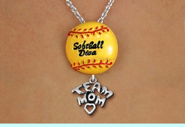 """<Br>        LEAD & NICKEL FREE!! <Br>      AN ALLAN ROBIN DESIGN!! <br>W19922N - """"SOFTBALL DIVA""""  <BR>NECKLACE WITH SILVER TONE  <BR>     """"TEAM MOM"""" CHARM  <BR>        FROM $6.19 TO $13.75 �2012"""