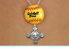 """<Br>        LEAD & NICKEL FREE!! <Br>   AN ALLAN ROBIN DESIGN!! <br>W19923N - """"SOFTBALL DIVA""""  <BR>NECKLACE WITH SILVER TONE  <BR>""""A DIAMOND IS A GIRLS BEST FRIEND""""  <BR>  CHARM FROM $6.19 TO $13.75 �2012"""