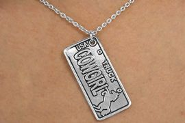 """<Br>               LEAD & NICKEL FREE!!<Br>                 EXCLUSIVELY OURS!<Br>           AN ALLAN ROBIN DESIGN!<Br>   W14114N - """"COWGIRL"""" & HORSE<BR>""""TRUCK"""" LICENSE PLATE NECKLACE<Br>                    AS LOW AS $6.63"""