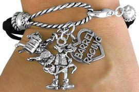 """<Br>                LEAD & NICKEL FREE!!<Br>                 EXCLUSIVELY OURS!!<Br>           AN ALLAN ROBIN DESIGN!!<Br>W14569B - 3-CHARM BLACK MULTI<BR>STRAND COWGIRL & """"I LOVE BARREL<br>            RACING"""" ROPE BRACELET<Br>                      AS LOW AS $5.78"""