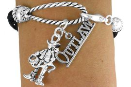 """<Br>               LEAD & NICKEL FREE!!<Br>                EXCLUSIVELY OURS!!<Br>          AN ALLAN ROBIN DESIGN!!<Br>W14570B - 2-CHARM BLACK MULTI<BR>STRAND COWGIRL """"OUTLAW"""" ROPE<Br>         BRACELET AS LOW AS $4.73"""