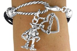 """<Br>                    LEAD & NICKEL FREE!!<Br>                     EXCLUSIVELY OURS!!<Br>               AN ALLAN ROBIN DESIGN!!<Br>    W14573B - 2-CHARM BLACK MULTI<BR>STRAND COWGIRL & """"I LOVE COWBOYS""""<BR>       ROPE BRACELET AS LOW AS $4.73"""