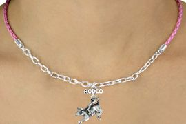 "<Br>             LEAD & NICKEL FREE!!<Br>              EXCLUSIVELY OURS!!<Br>         AN ALLAN ROBIN DESIGN!!<Br> W14690N - ""RODEO"" BULL RIDER<Br>     PINK BRAIDED & SILVER TONE<Br>CHAIN NECKLACE FROM $5.06 TO $11.25"