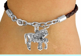 <Br>             LEAD & NICKEL FREE!!<Br>              EXCLUSIVELY OURS!!<Br>        AN ALLAN ROBIN DESIGN!!<Br>W14695B - MARE & FOAL BROWN<Br>   BRAIDED & SILVER TONE CHAIN<Br>  BRACELET FROM $4.50 TO $10.00