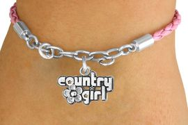 """<Br>             LEAD & NICKEL FREE!!<Br>              EXCLUSIVELY OURS!!<Br>        AN ALLAN ROBIN DESIGN!!<Br>W14696B - PINK """"COUNTRY GIRL""""<Br>   BRAIDED & SILVER TONE CHAIN<Br>  BRACELET FROM $4.50 TO $10.00"""