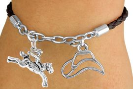 <Br>                LEAD & NICKEL FREE!!<Br>                 EXCLUSIVELY OURS!!<Br>           AN ALLAN ROBIN DESIGN!!<Br>       W14697B - BROWN 2-CHARM<br>   HORSE & RIDER & HAT BRAIDED &<Br>  CHAIN BRACELET FROM $5.63 TO $12.50
