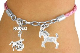 "<Br>                 LEAD & NICKEL FREE!!<Br>                  EXCLUSIVELY OURS!!<Br>            AN ALLAN ROBIN DESIGN!!<Br>W14698B - PINK 2-CHARM ""RODEO""<br>  BRONCO BUSTER BRAIDED & CHAIN<Br>     BRACELET FROM $5.63 TO $12.50"