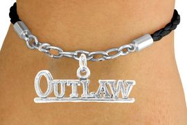 """<Br>           LEAD & NICKEL FREE!!<Br>            EXCLUSIVELY OURS!!<Br>      AN ALLAN ROBIN DESIGN!!<Br> W14699B - BLACK """"OUTLAW""""<Br>BRAIDED & SILVER TONE CHAIN<Br>BRACELET FROM $4.50 TO $10.00"""