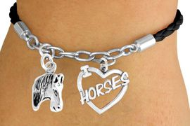 """<Br>                 LEAD & NICKEL FREE!!<Br>                  EXCLUSIVELY OURS!!<Br>            AN ALLAN ROBIN DESIGN!!<Br>        W14700B - BLACK 2-CHARM<br>""""I LOVE HORSES"""" BRAIDED & CHAIN<Br>     BRACELET FROM $5.63 TO $12.50"""