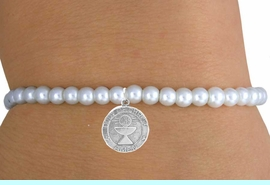 """<br>                    LEAD & NICKEL FREE!!<BR>                     EXCLUSIVELY OURS!!<Br>               AN ALLAN ROBIN DESIGN!!<br>    W14701B - CHILDREN'S FAUX PEARL<br>""""1ST COMMUNION"""" STRETCH BRACELET<Br>                  FROM $4.50 TO $10.00<BR>                                  �2008"""