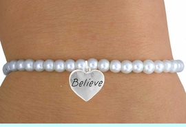 """<br>                  LEAD & NICKEL FREE!!<BR>                   EXCLUSIVELY OURS!!<Br>             AN ALLAN ROBIN DESIGN!!<br>  W14705B - CHILDREN'S FAUX PEARL<br>""""BELIEVE"""" HEART STRETCH BRACELET<Br>                 FROM $4.50 TO $10.00<BR>                                  �2008"""
