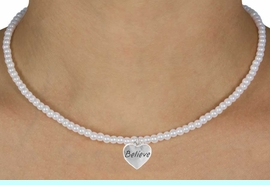 """<Br>               LEAD & NICKEL FREE!!<Br>                EXCLUSIVELY OURS!!<Br>          AN ALLAN ROBIN DESIGN!!<br>  W14706N - CHILDREN'S 13"""" FAUX<br>PEARL """"BELIEVE"""" HEART NECKLACE<Br>               FROM $6.19 TO $13.75"""