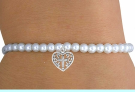 <br>                LEAD & NICKEL FREE!!<BR>                 EXCLUSIVELY OURS!!<Br>           AN ALLAN ROBIN DESIGN!!<br>W14707B - CHILDREN'S FAUX PEARL<br>HEART & CROSS STRETCH BRACELET<Br>              FROM $4.50 TO $10.00<BR>                          �2008