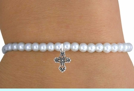 <br>                LEAD & NICKEL FREE!!<BR>                 EXCLUSIVELY OURS!!<Br>           AN ALLAN ROBIN DESIGN!!<br>W14709B - CHILDREN'S FAUX PEARL<br>ELEGANT CROSS STRETCH BRACELET<Br>               FROM $4.50 TO $10.00<BR>                                �2008