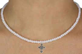 "<Br>             LEAD & NICKEL FREE!!<Br>              EXCLUSIVELY OURS!!<Br>        AN ALLAN ROBIN DESIGN!!<br> W14710N - CHILDREN'S 13"" FAUX<br>PEARL ELEGANT CROSS NECKLACE<Br>               FROM $6.19 TO $13.75"