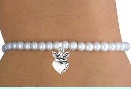 <br>                LEAD & NICKEL FREE!!<BR>                 EXCLUSIVELY OURS!!<Br>           AN ALLAN ROBIN DESIGN!!<br> W14711B - CHILDREN'S FAUX PEARL<br>ANGEL &  HEART STRETCH BRACELET<Br>               FROM $4.50 TO $10.00<BR>                                  �2008