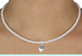 """<Br>              LEAD & NICKEL FREE!!<Br>               EXCLUSIVELY OURS!!<Br>         AN ALLAN ROBIN DESIGN!!<br>  W14712N - CHILDREN'S 13"""" FAUX<br>PEARL ANGEL ON HEART NECKLACE<Br>               FROM $6.19 TO $13.75"""