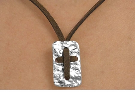 <BR>                   LEAD & NICKEL FREE!!<Br>                    EXCLUSIVELY OURS!!<Br>              AN ALLAN ROBIN DESIGN!!<Br>   W15270N - BROWN SUEDE LEATHER<Br>TEXTURED METAL & THREADED CROSS<Br>       NECKLACE FROM $3.94 TO $8.75
