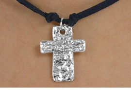 <BR>                 LEAD & NICKEL FREE!!<Br>                  EXCLUSIVELY OURS!!<Br>           AN ALLAN ROBIN DESIGN!!<Br> W15271N - BLACK SUEDE LEATHER<Br>TEXTURED METAL CROSS NECKLACE<Br>                FROM $4.16 TO $9.25