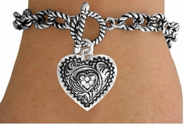<Br>                 LEAD & NICKEL FREE!!<Br>                  EXCLUSIVELY OURS!!<Br>            AN ALLAN ROBIN DESIGN!!<Br>       W15713B - GENUINE AUSTRIAN<Br>CRYSTAL ACCENTED WESTERN-STYLE<Br>      HEART DROP TOGGLE BRACELET<Br>                 FROM $5.06 TO $11.25