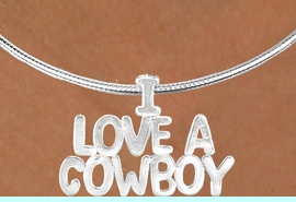 """<Br>                  LEAD & NICKEL FREE!!<Br>                   EXCLUSIVELY OURS!!<Br>             AN ALLAN ROBIN DESIGN!!<Br> W16151N - LARGE """"I LOVE A COWBOY""""<br>SILVER TONE CABLE COLLAR NECKLACE<Br>                 FROM $5.06 TO $11.25"""