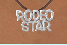 """<Br>            LEAD & NICKEL FREE!!<Br>             EXCLUSIVELY OURS!!<Br>       AN ALLAN ROBIN DESIGN!!<Br>W16155N - LARGE """"RODEO STAR""""<Br> BROWN SUEDE NECKLACE FROM<Br>                    $3.38 TO $7.50<BR>                              &#169;2010"""