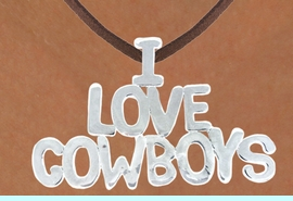 """<Br>                 LEAD & NICKEL FREE!!<Br>                  EXCLUSIVELY OURS!!<Br>            AN ALLAN ROBIN DESIGN!!<Br>W16156N - LARGE """"I LOVE COWBOYS""""<Br>      BROWN SUEDE NECKLACE FROM<Br>                        $3.38 TO $7.50<BR>                                &#169;2010"""