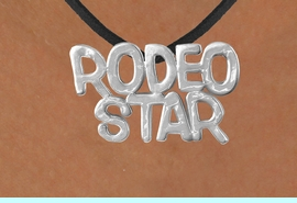 """<Br>              LEAD & NICKEL FREE!!<Br>               EXCLUSIVELY OURS!!<Br>        AN ALLAN ROBIN DESIGN!!<Br>W16158N - LARGE """"RODEO STAR""""<Br>   BLACK SUEDE NECKLACE FROM<Br>                    $3.38 TO $7.50"""