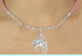 <Br>                 LEAD & NICKEL FREE!!<Br>                  EXCLUSIVELY OURS!!<Br>            AN ALLAN ROBIN DESIGN!!<Br>W16227N - BRONCO BUSTER CHARM<Br>    & PINK BRAIDED NECKLACE WITH<Br>        CHAIN FROM $5.06 TO $11.25