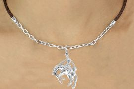<Br>                 LEAD & NICKEL FREE!!<Br>                  EXCLUSIVELY OURS!!<Br>            AN ALLAN ROBIN DESIGN!!<Br>W16228N - BRONCO BUSTER CHARM<Br> & BROWN BRAIDED NECKLACE WITH<Br>        CHAIN FROM $5.06 TO $11.25