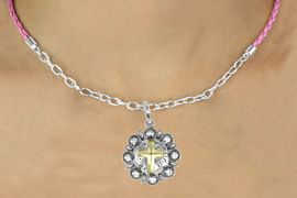 <Br>                 LEAD & NICKEL FREE!!<Br>                  EXCLUSIVELY OURS!!<Br>            AN ALLAN ROBIN DESIGN!!<Br>   W16233N - TWO-TONE CROSS ON<Br>ORNAMENTAL CONCH CHARM & PINK<Br>     BRAIDED NECKLACE WITH CHAIN<Br>                 FROM $6.75 TO $15.00